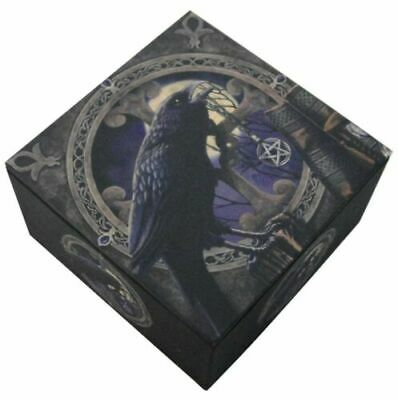 "Pagan Witchcraft Raven Pentagram 4""by4"" Jewelry Box By Lisa Parker"