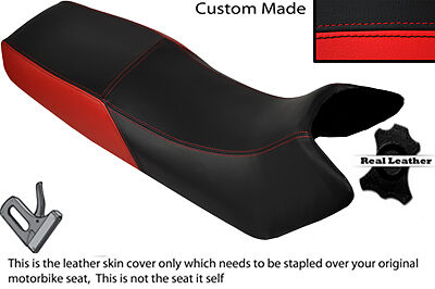 Black & Red Custom Fits Honda Vf 500 F 84-86 Dual Leather Seat Cover