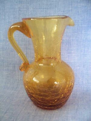PILGRIM CRACKLE GLASS HAND BLOWN HANDLE PITCHER VASE AMBER