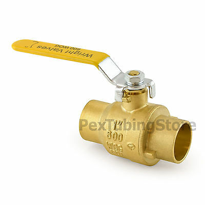 "1"" Sweat (CxC) Brass Ball Valve Full Port, Shut-Off Valves, 600psi WOG"
