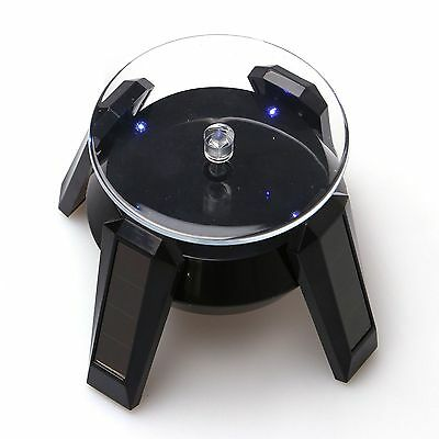 Black Jewelry Watch Rotating Display Stand LED Light Solar Powered Turn Table