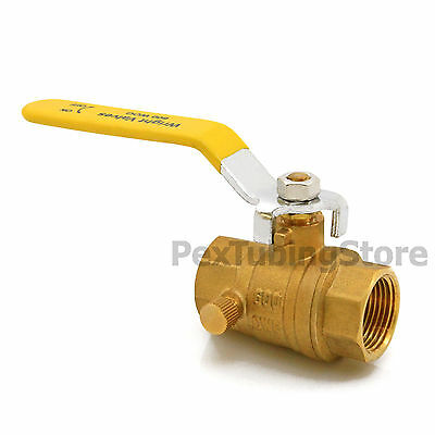 "3/4"" NPT Threaded Brass Ball Valve Full Port w/ Drain and Cap, Shut-Off Valves"