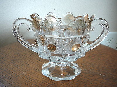 Eapg - Bulls-Eye & Daisy - Clear Glass & Gold Spooner Sugar - Us Glass 1909