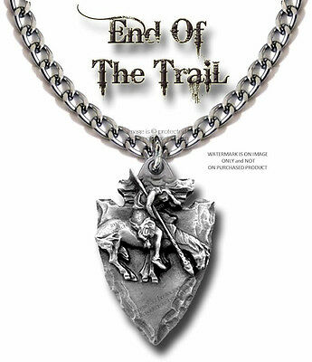 """Arrowhead End Of Trail Necklace Pendant - 24"""" Heavy Chain - Free Shipping  #lrg*"""