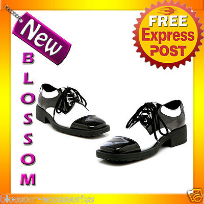 S8 Mens Fred Black White 20s Pimp Gangster Fancy Dress Costume Adult Shoes
