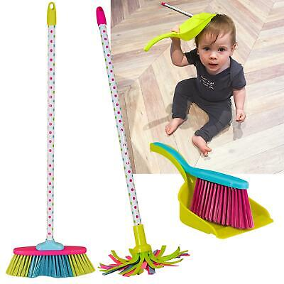 NEW Childrens Kids Cleaning Sweeping Play Set Mop Broom Brush Dustpan Childs Toy