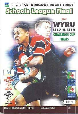 CUP FINALS RUGBY PROGRAMME 2000 Cwmbran Youth v Tonyrefail Youth (Under 17)