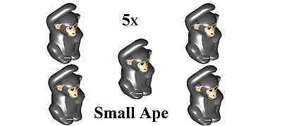 Lego Lot Of 5 Black Chimpanzee Monkey Small Ape  w/ Tan Face Animal (96642) NEW