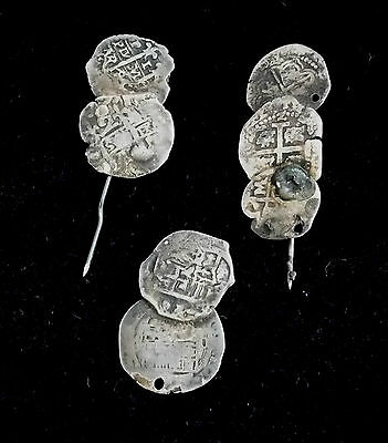 Antique Silver Pieces of Eight Spanish Reales 17th Century OLD  ST881