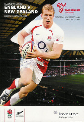 ENGLAND v NEW ZEALAND 29 Nov 2008 RUGBY PROGRAMME, TWICKENHAM