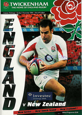 ENGLAND v NEW ZEALAND 5 Nov 2006 RUGBY PROGRAMME, TWICKENHAM