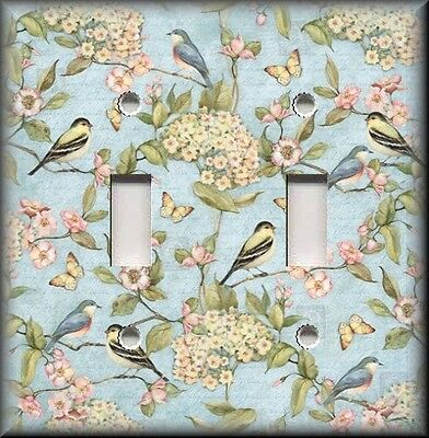 Metal Light Switch Plate Cover Birds Butterflies Flowers Shabby Chic Home Decor
