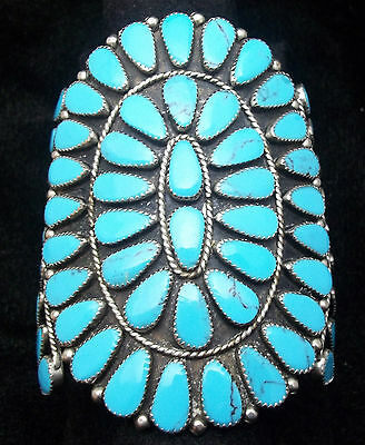 Estate Silver and Turquoise Bracelet/ Cuff  OLD PAWN Cluster  *ST893