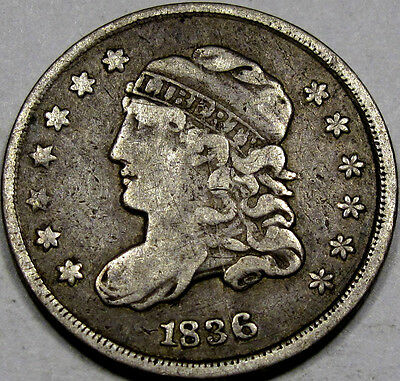 1836 Capped Bust Half Dime Abt. EF... With Large Retained Cud! A Rare Variety!!!