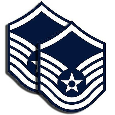 AIR FORCE Rank Master Sergeant Sticker - Military Decal - 2 Pack MR 015