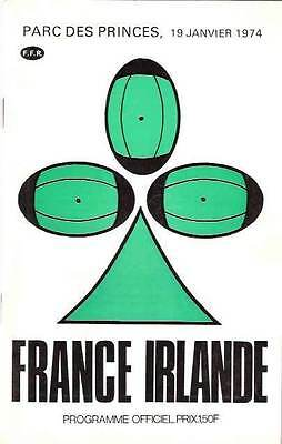 FRANCE v IRELAND 19 Jan 1974 RUGBY PROGRAMME at PARIS