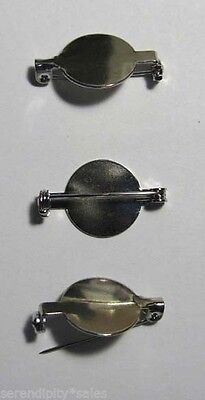 "50 PIN BACK BLANKS 5/8"" Pad SILVER TONE for Findings (You Glue) PinBAcks Brooch"