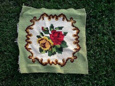 Vintage Latch Hook Floral Chair Cover