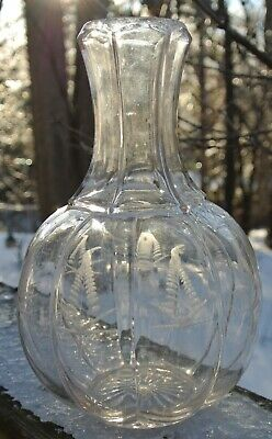 Vintage Victorian era Wine/Water Carafe Clear Glass Etched Floral Wheat Designs