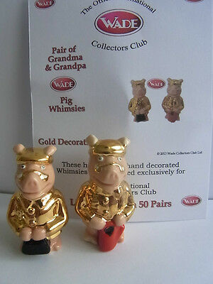 wade whimsie new GRANDPA AND GRANDMA PIG WHIMSIES GOLD DECORATION LE 50