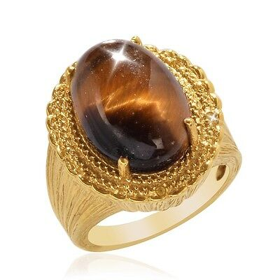 Natural Oval Shape 12.00ct Tigers Eye Created Yellow Sapphire Ring 14k over Base