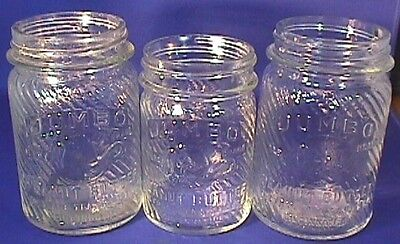 LOT OF 3 Jumbo Embossed Peanut Butter Glass Jars Frank Spice and Tea Co 1930 VGC
