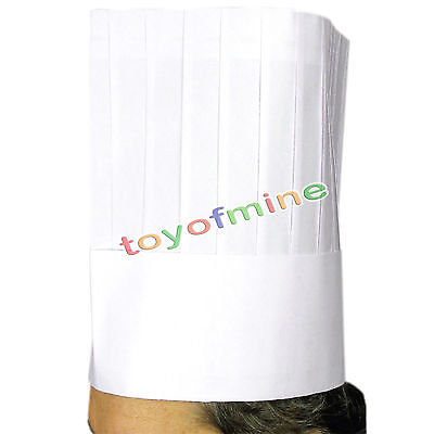 """12"""" White Chef Hat Catering Hats Food Serving Disposable paper New"""