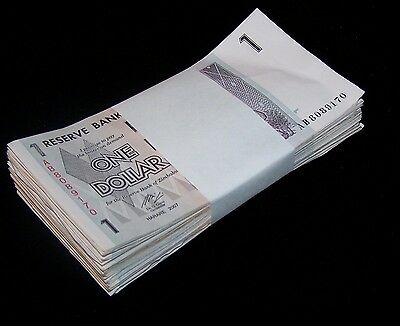 100 Zimbabwe 1 Dollar banknotes-full bundle