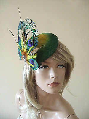 Green & Yellow Peacock Feathers w/ Crystal Brooch Ombre Button Fascinator MN180