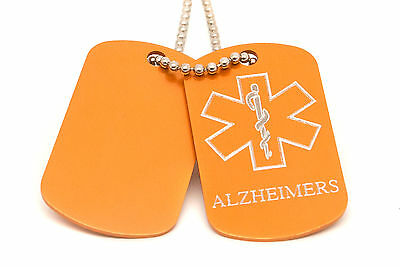 Personalised 2 Medical Star SOS Alert, Alzheimers Army ID Tags Engraved
