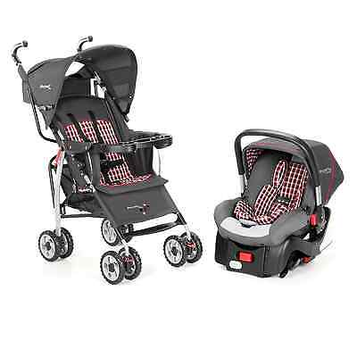 First Years Wisp Travel System - Plaid Grey - Brand New By Tomy