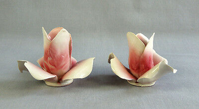 2 VTG CAPODIMONTE ITALIAN PORCELAIN PINK ROSE CANDLE HOLDERS ART POTTERY ITALY