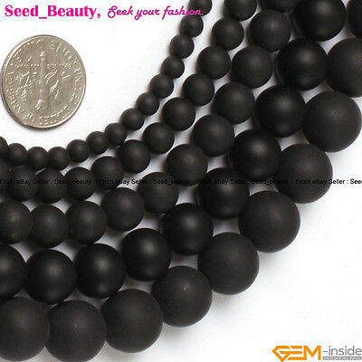 """Natural Stone Black Brazil Agate Gemstone Beads For Jewelry Making 15"""" Matte"""