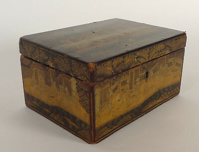 A fine antique Chinese export parcel-gilt black lacquer Tea caddy,Box, ca.1820