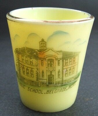Original antique BELGRADE MONTANA School souvenir CUSTARD GLASS Toothpick Holder