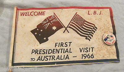 #t8.  1966 Usa President Souvenir Flag,tin Badge & Newspaper