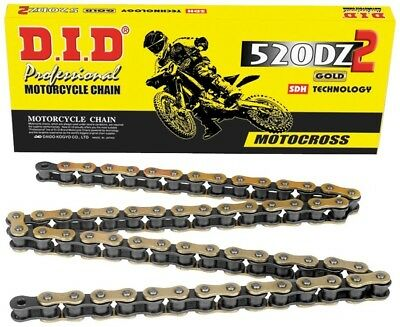 D.I.D DID 520 DZ2 Gold Chain 120 Links with Clip Masterlink