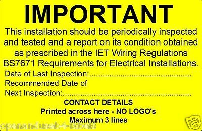 Periodic Inspection Test Labels - Electrical Safety BS7671