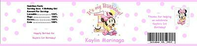 25 Minnie Mouse 1st First Birthday Water Bottle Label Favor Waterproof Custom