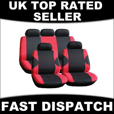 Universal Full Car Seat Cover Set Racing Style Red Black Washable