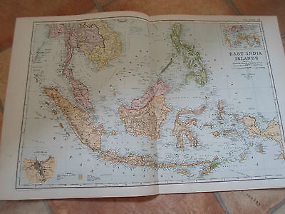 Old Map WEST INDIES From Bacon's Popular Atlas Of The World - 1907 (No 37)