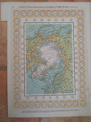 Old Map NORTH POLAR REGIONS+UNIVERSAL TIME CHART (N. HEMISPHERE) 1907 (No 1)