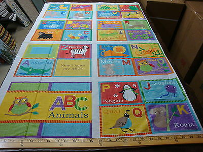 crafts apparel quilting fabric cotton  panel   Abc book 3727  19444 Mul1