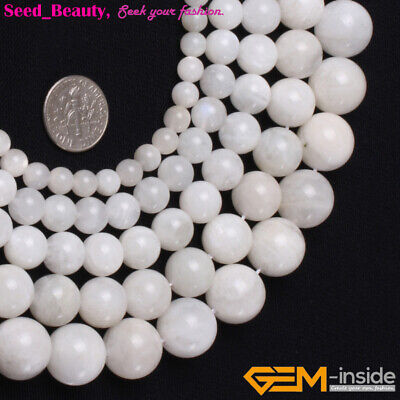 """Natural Gemstone Moonstone Jewelry Making Beads 15"""" White Beauty Beads in Lots"""
