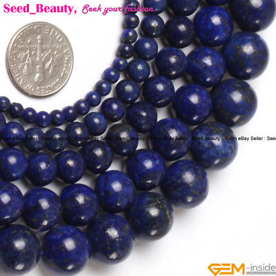 "Natural Round Navy Lapis Lazuli Gemstone Beads Strand 15"" Color Enhanced"