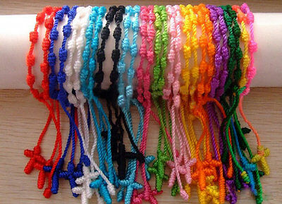 5P Lucky Rosary Cross Nylon Cord Braid knot Chain religion Bracelet 13Color Mix