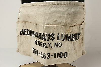 Heddinghaus Lumber Moberly MO Vintage Nail Apron W/ Waist Ties Double Pockets
