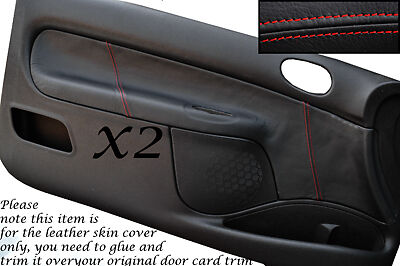 Red Stitch Fits Peugeot 206 Cc & 3 Door 98-10 2X Door Card Leather Covers Only