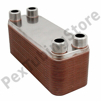 "40-Plate 3x8 Water to Water Brazed Plate Heat Exchanger, 3/4"" MPT, 316L St Steel"