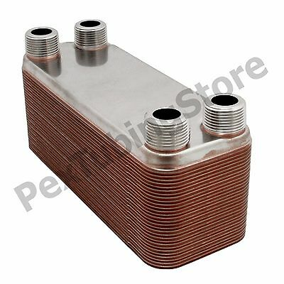 "50-Plate 3x8 Water to Water Brazed Plate Heat Exchanger, 3/4"" MPT, 316L St Steel"
